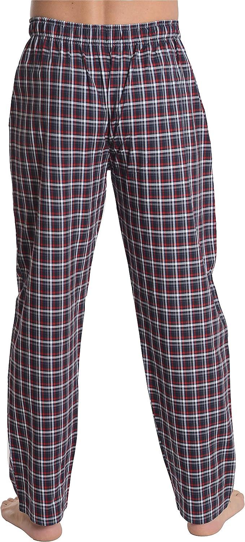 El B/úho Nocturno Popeline 100/% Cotone Pantaloni Pigiama Lunghi a Righe oa Scacchi da Uomo Abbigliamento da Notte Classico per Signori
