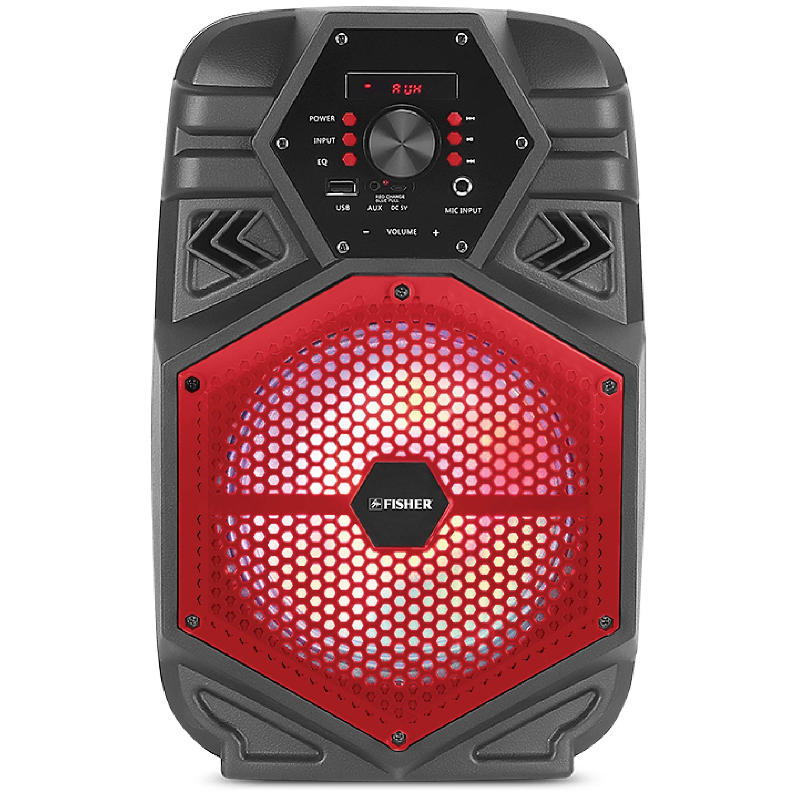 Fisher FBX880 Compact Portable 8-inch Karaoke Speaker, PA System, Bluetooth, FM Radio, USB/Aux/Microphone Inputs (Red)