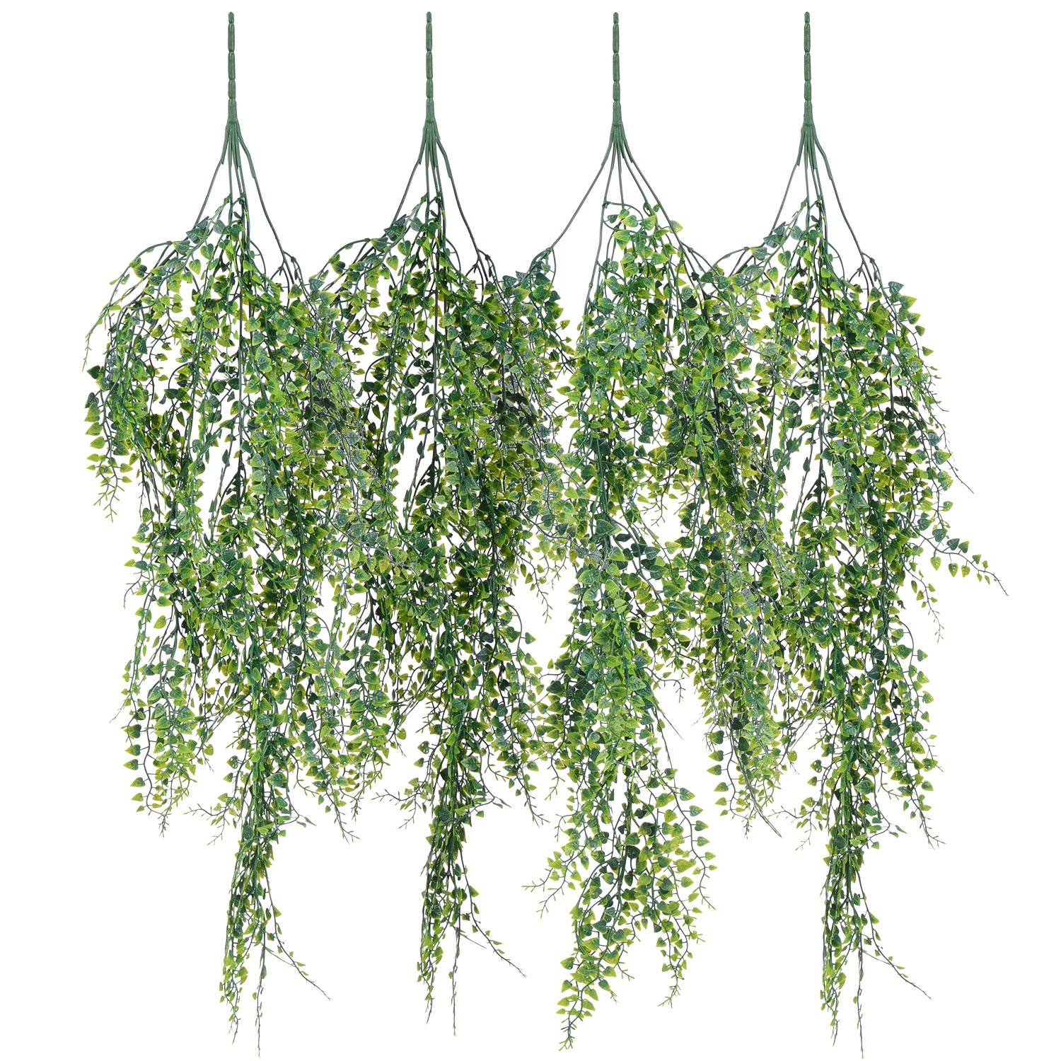 Artiflr 4 Pack Artificial Wall hanging plants Artificial Ivy Fake Hanging Vine Plants Decor Plastic Greenery for Home Wall Indoor Outdside