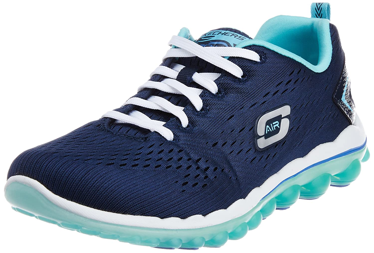Skechers Sport Women's Skech Air Run High Fashion Sneaker B00MXVHD4K 7.5 B(M) US|Navy Mesh/Light Blue Trim