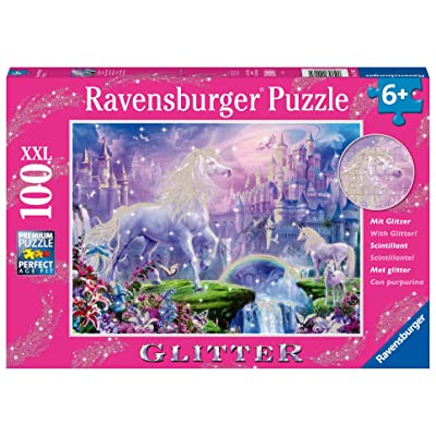 Ravensburger 12907 Unicorn Kingdom 100 Piece Glitter Jigsaw Puzzle for Kids – Every Piece is Unique, Pieces Fit Together Perfectly: Toys & Games