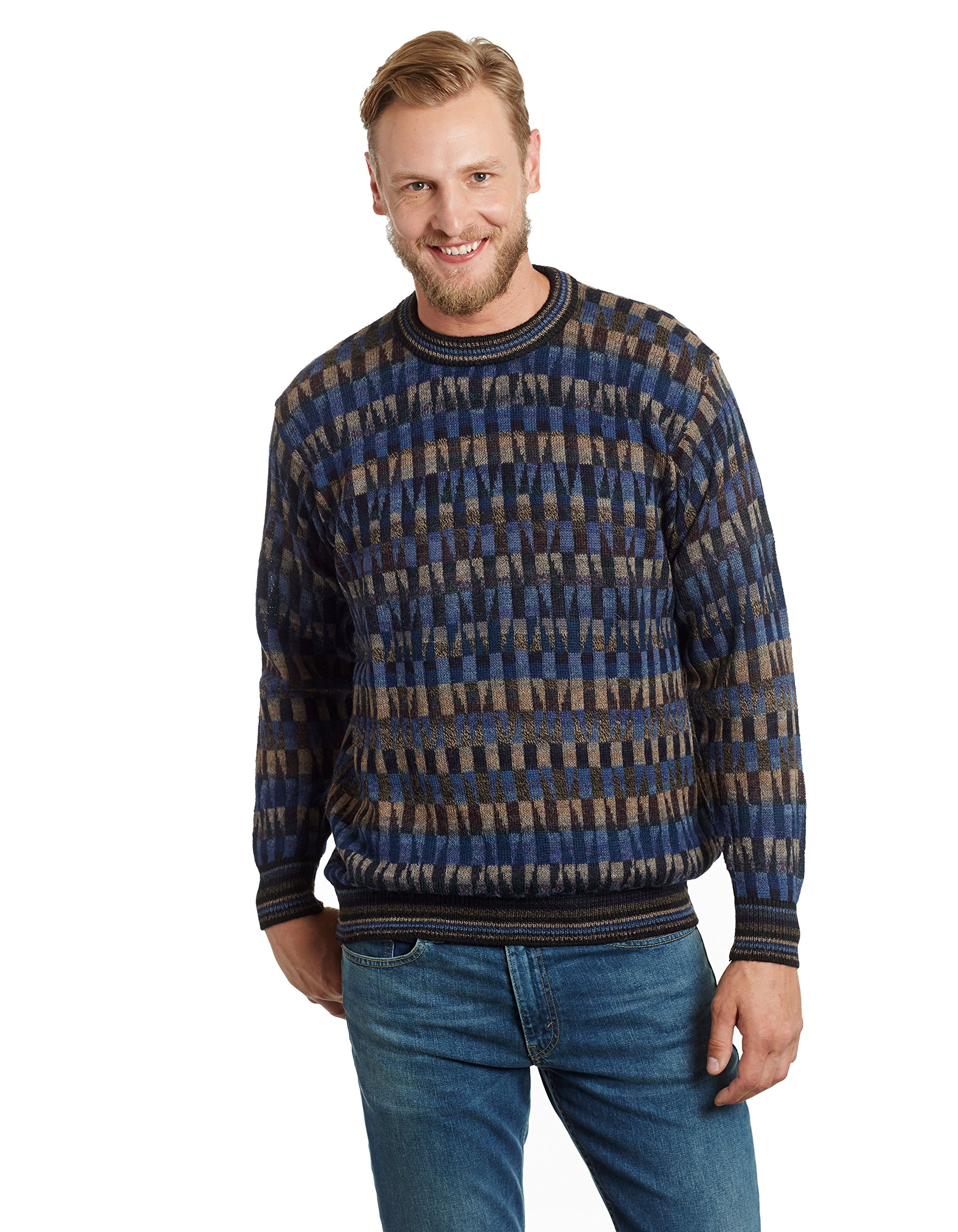 Invisible World Men's 100% Alpaca Crew Neck Mosaic Pullover Sweater Blue MD