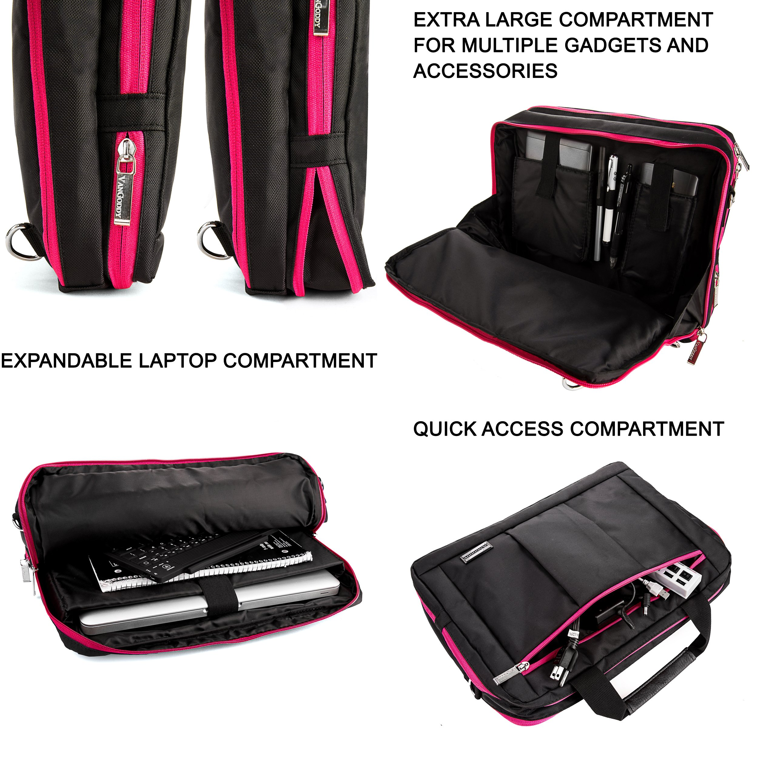 Executive Travel Carrying Bag, Messenger Bag & Backpack For Samsung Galaxy Tab PRO / Galaxy Note PRO 12.2'' Tablet + Pink Bluetooth Suction Speaker by Vangoddy (Image #5)