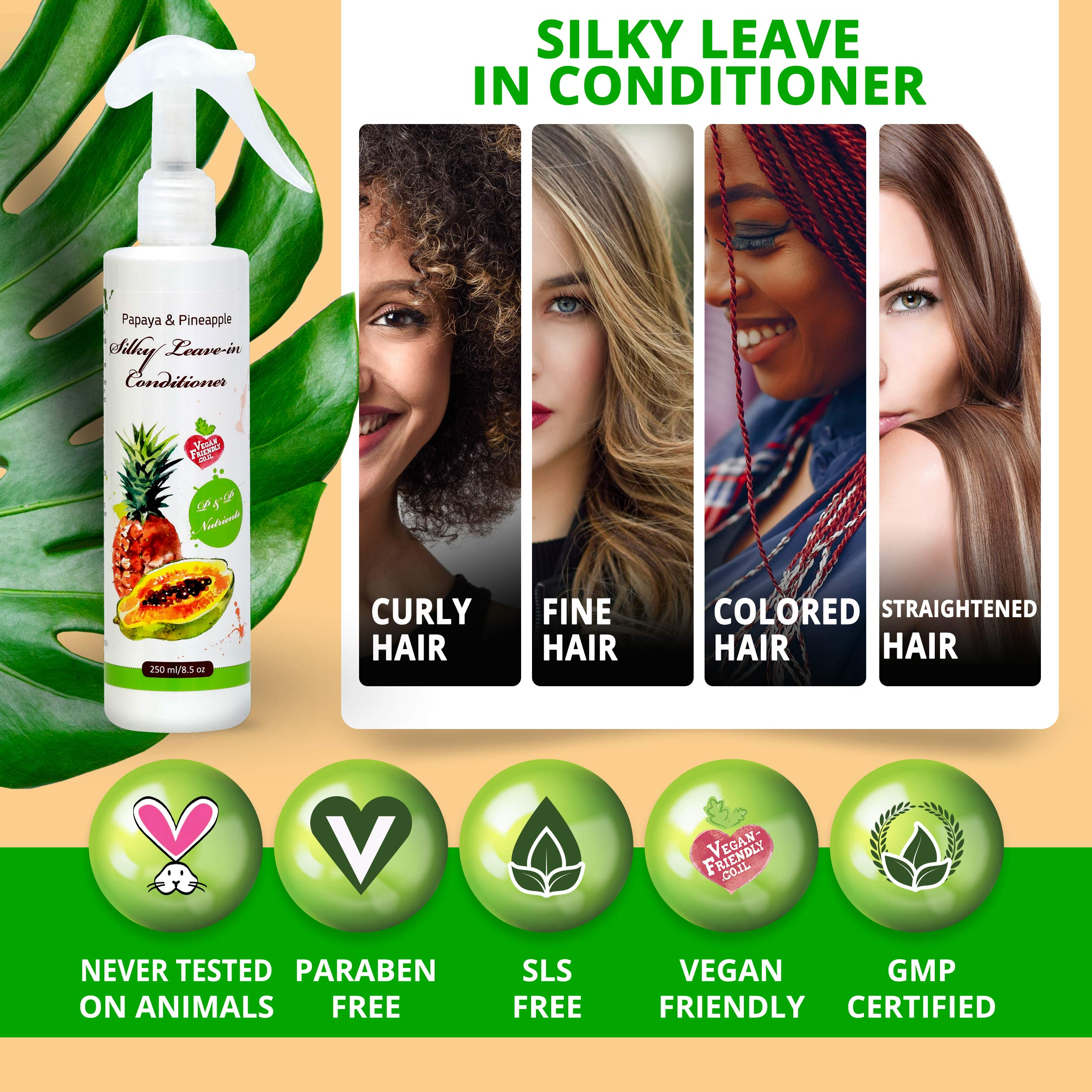 Papaya & Pineapple Natural Leave in Conditioner Spray for Dry and Damaged Hair Treatment| Anti-Frizz and Hair Detangler|Hair nourishment serum|Vegan|Paraben, SLS and Sulfate Free - 8.5 oz