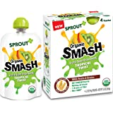 Sprout Organic SMASH, Organic Fruit Snack Pouches, Fruit and Grain Puree, Tropical Twist, 3.2 Ounce, 4 Count