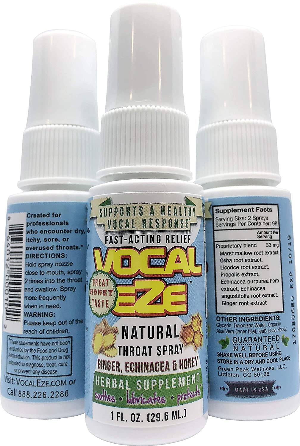 Vocal Eze, Natural Herbal Throat Spray (1) Bottle | Celebrity Endorsed | Relieve Sore, Hoarse, Fatigue, Dryness, Voice Immune Support, Premium Ingredients