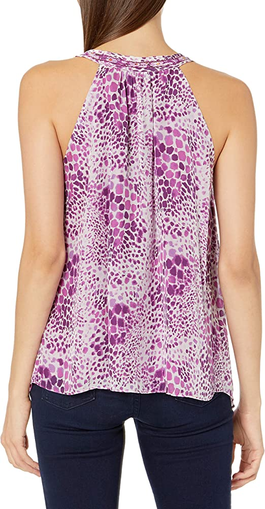 Ramy Brook Womens Printed Ronela V Neck Sleeveless Top