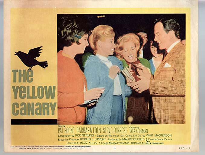 Amazon.com: MOVIE POSTER: Yellow Canary-Pat Boone-Barbara Eden-Steve Forrest-11x14-Color-Lobby Card: Entertainment Collectibles