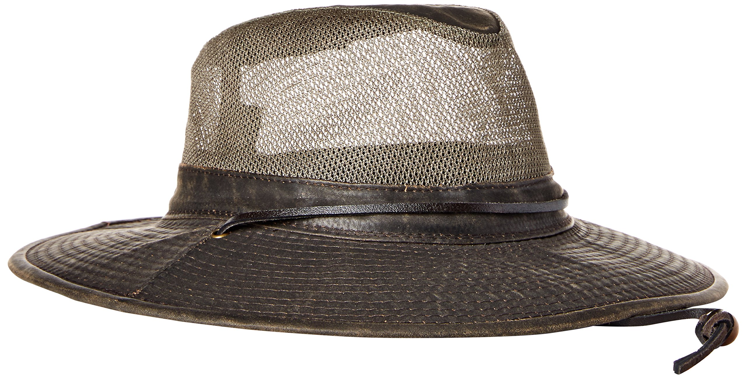Dorfman Pacific Co. Men's Weathered Cotton Big Brim with Mesh, Brown, Large