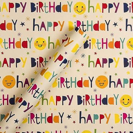 Papel de regalo de cumpleaños reversible para niños de ...