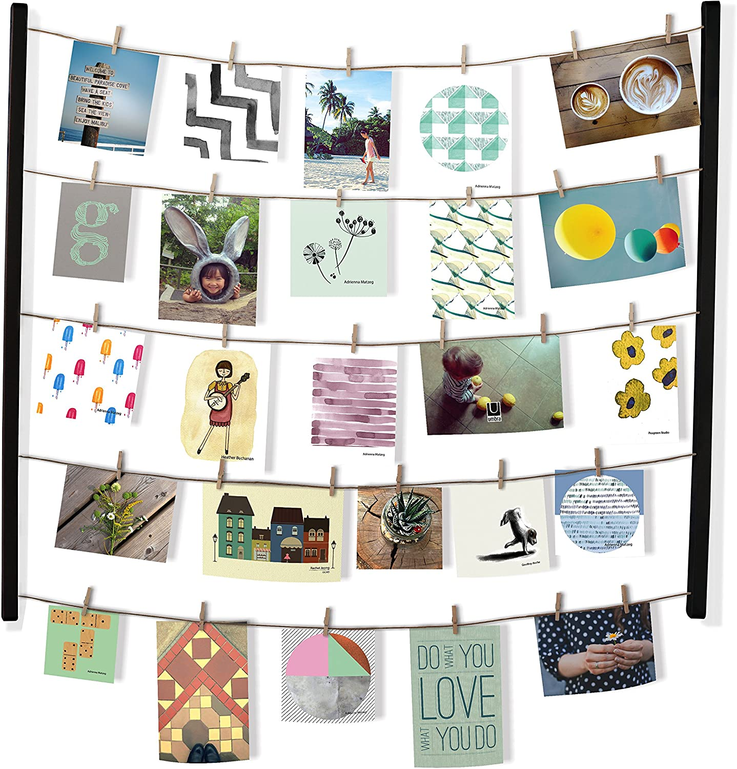 Umbra Hangit Display-DIY Frames Collage Set Includes Picture Wire Twine Cords, Wall Mounts and Clothespin Clips for Hanging Photos, Prints and Artwork, 26 x 30, Black