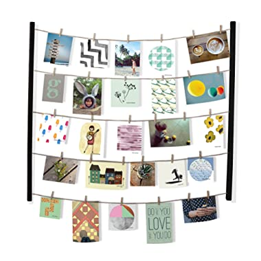 Umbra Hangit Photo Display - DIY Picture Frames Collage Set Includes Picture Hanging Wire Twine Cords, Natural Wood Wall Mounts and Clothespin Clips for Hanging Photos, Prints and Artwork (Black)