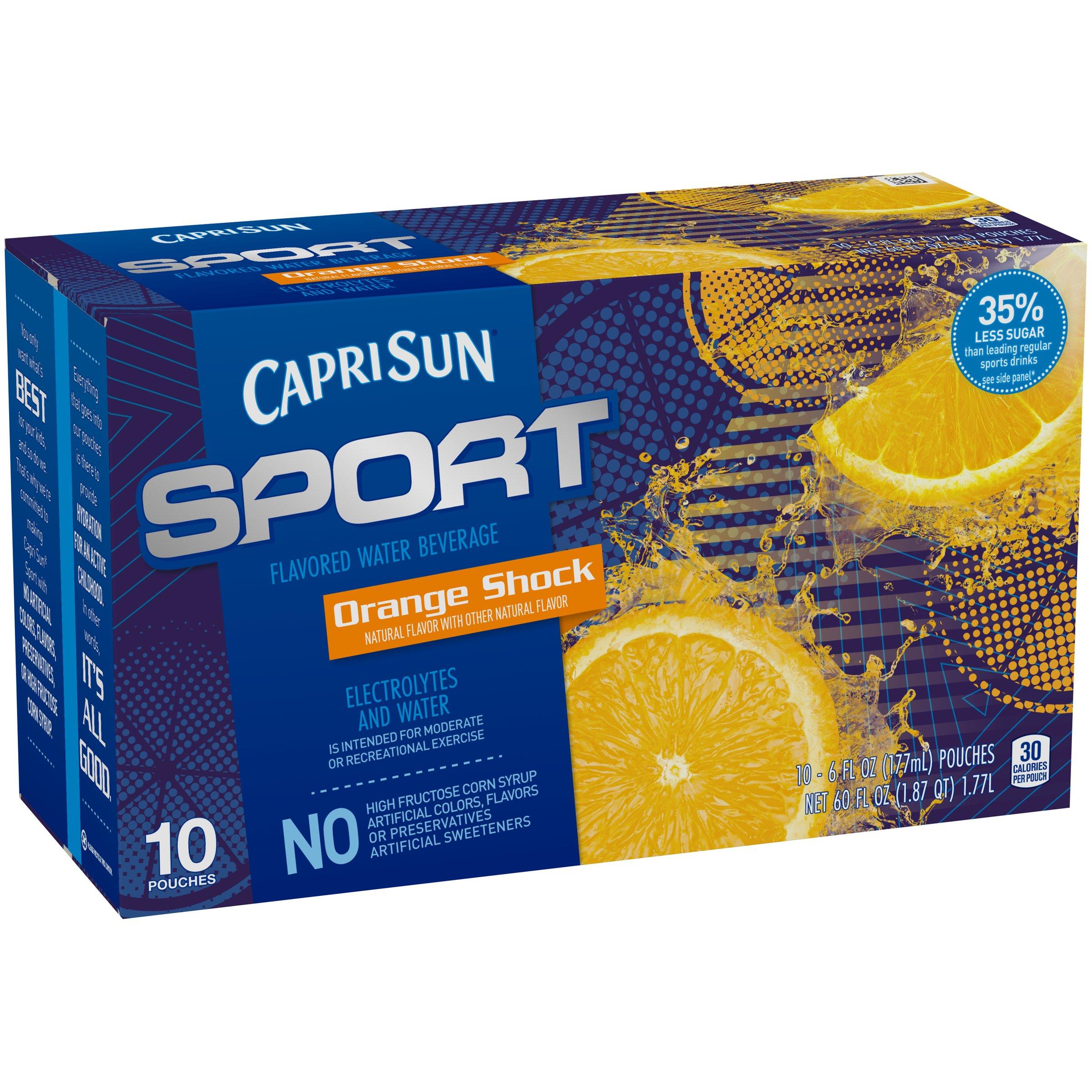 Capri Sun Sport Flavored Water Beverage, Orange Shock, 10 Count, 60 Ounce (Pack of 4)