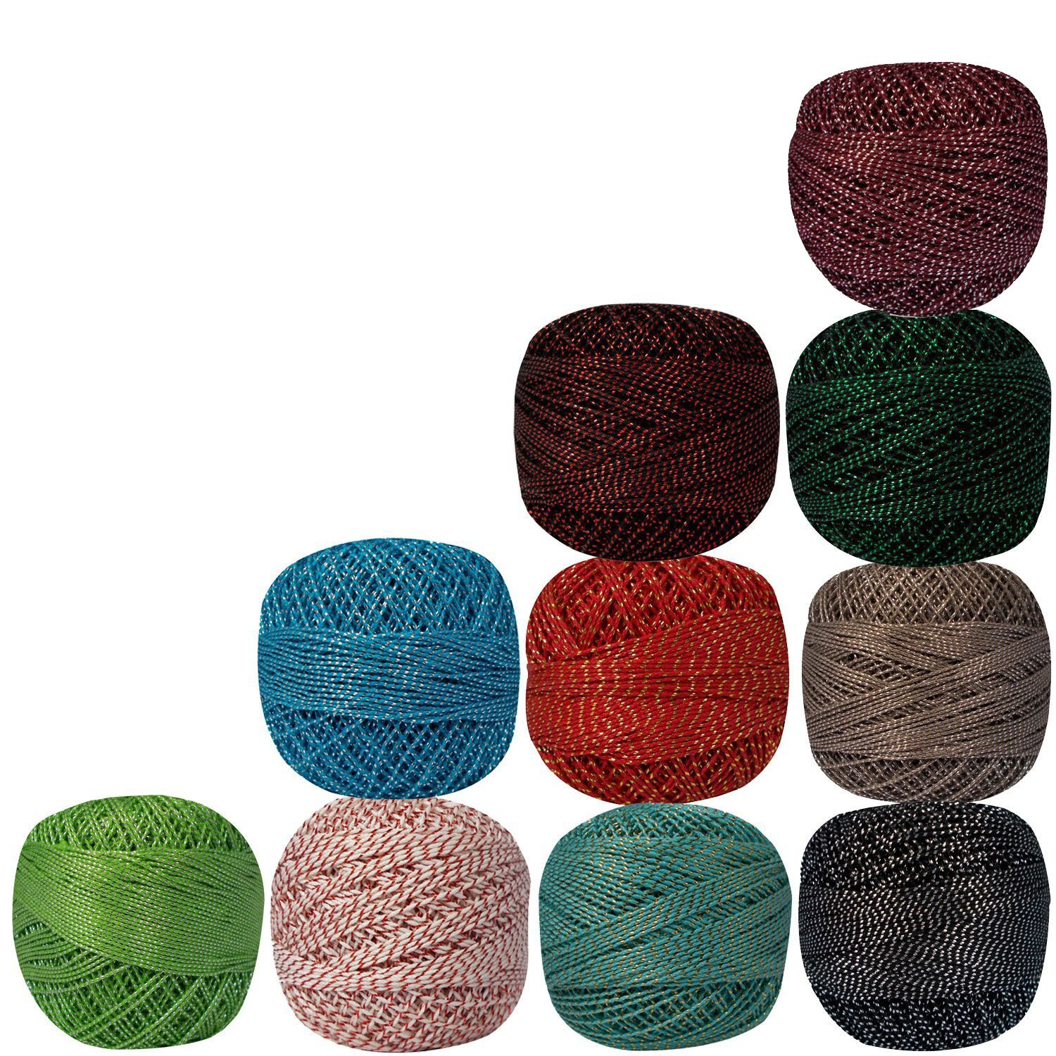 Lot of 10 Pcs Variegated Metallic Cotton Crochet Thread Knitting Multicolor Yarn Tatting Doilies Assorted Skeins Lacey Craft by CraftyArt (Image #1)