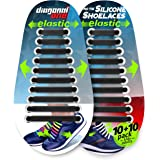 Gejoy 12 Packs No Tie Shoelaces Waterproof Elastic Silicone Adults Tieless Shoe Laces for Sneakers