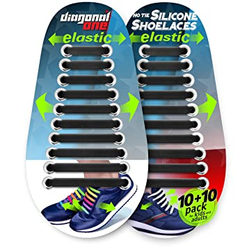ac64fabcfdec4 DIAGONAL ONE No Tie Shoelaces for Kids and Adults. Elastic Silicone Shoe  Laces to Replace Your Shoe Strings. 20 Slip On Tieless Flat Silicon  Sneakers ...