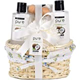 Coconut Milk Nourishing Skin Care with Argan Oil Gift Basket! Perfect Anniversary Gift for Women, and Best Spa At Home Gift for Men!
