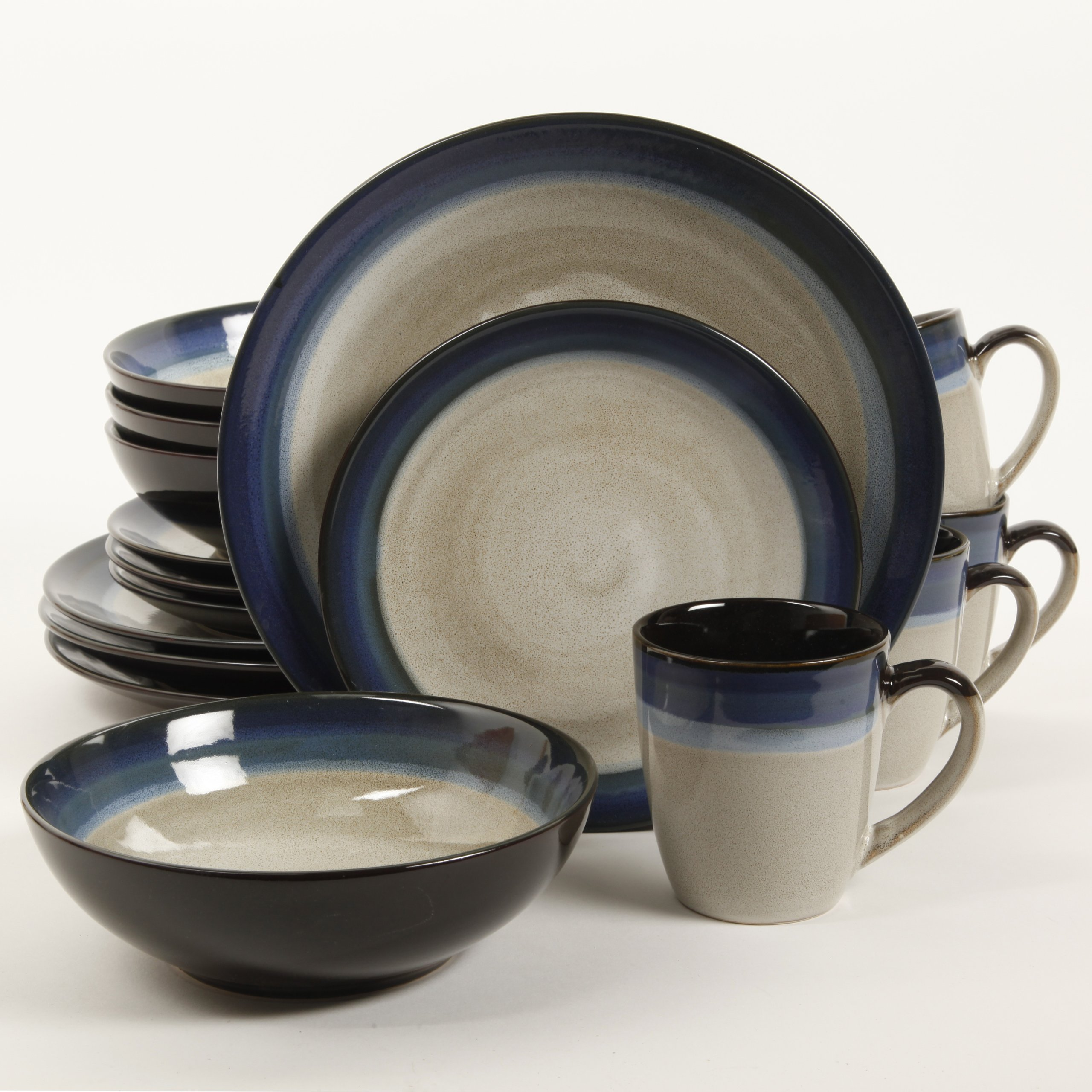 Gibson Elite 91547.16RM Couture Bands 16-Piece Dinnerware Set, Blue and Cream by Gibson (Image #2)