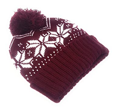 Festive Beanie Hat with Bobble - with White Snowflake Print  Burgundy  0f8d7185947