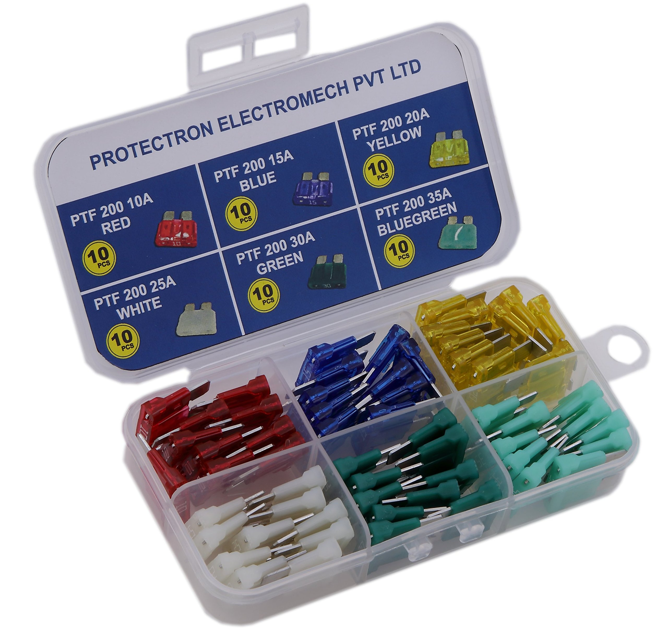 PROTECTRON 60pc Assorted MIDI BLADE (ATO/ATC) Auto Car standard Fuse kit- 10A, 15A, 20A, 25A, 30A, 35A product image