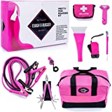Gears Out Pretty Pink Roadside Kit - Pink Emergency kit for Teen Girls and Women - Lightweight, Soft-Sided Carry Bag…