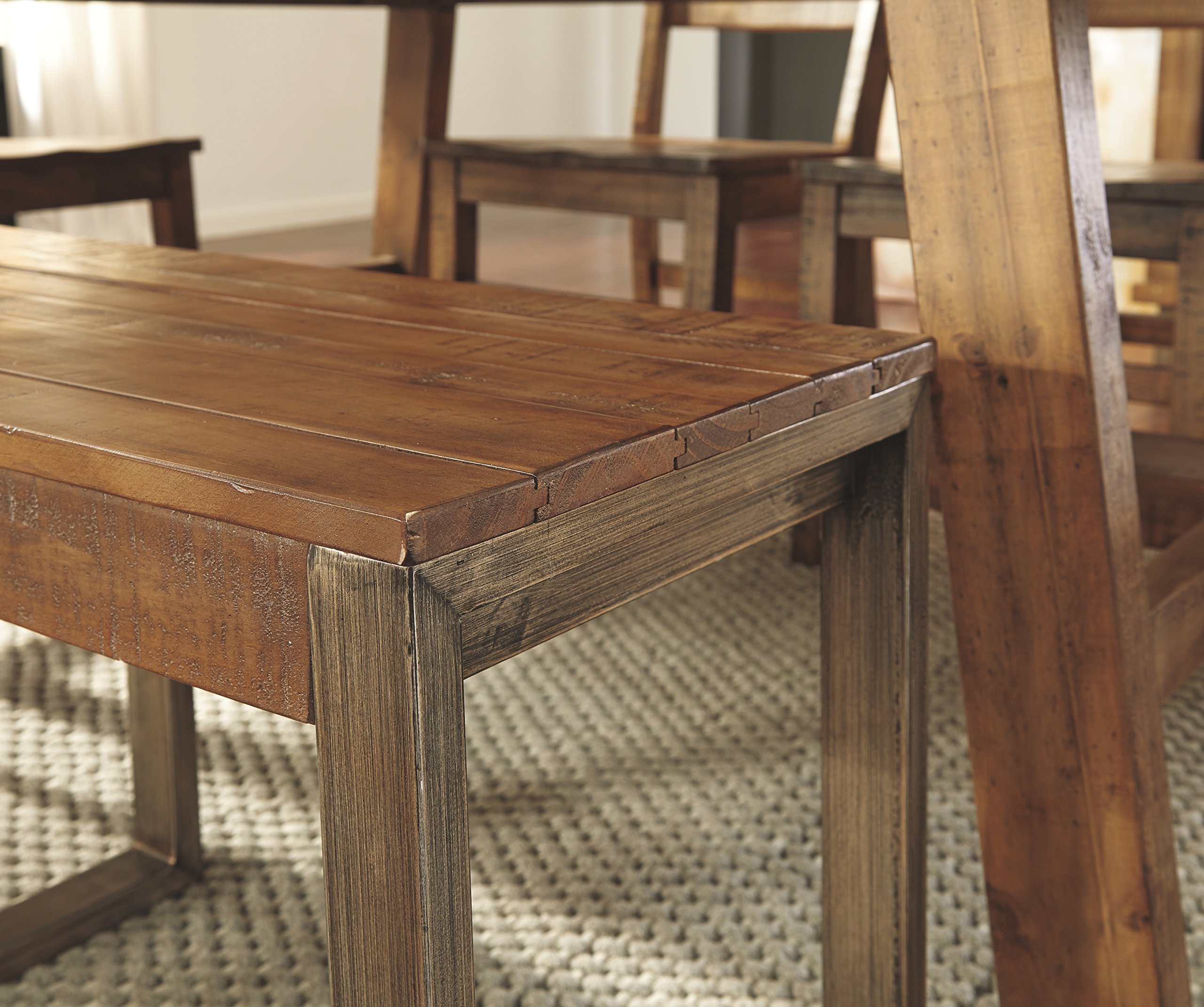 Ashley Furniture Signature Design - Dondie Dining Room Bench - Solid Pine Wood with Distressed Finish - Warm Brown by Signature Design by Ashley (Image #3)