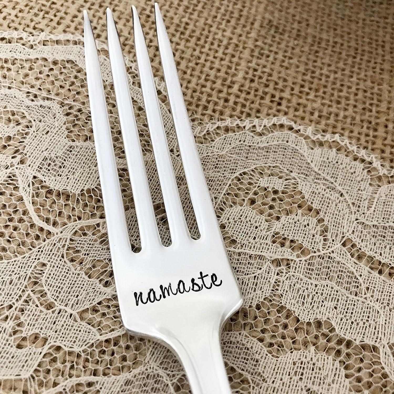 Chelsea hand stamped fork namaste