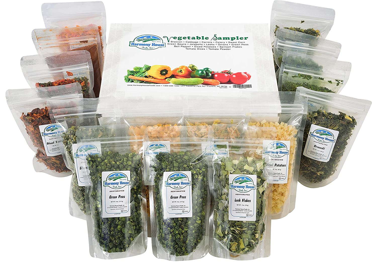 Harmony House Dehydrated Vegetable Sampler – 15 Count Variety Pack, Resealable Zip Pouches, For Cooking, Camping, Emergency Supply and More