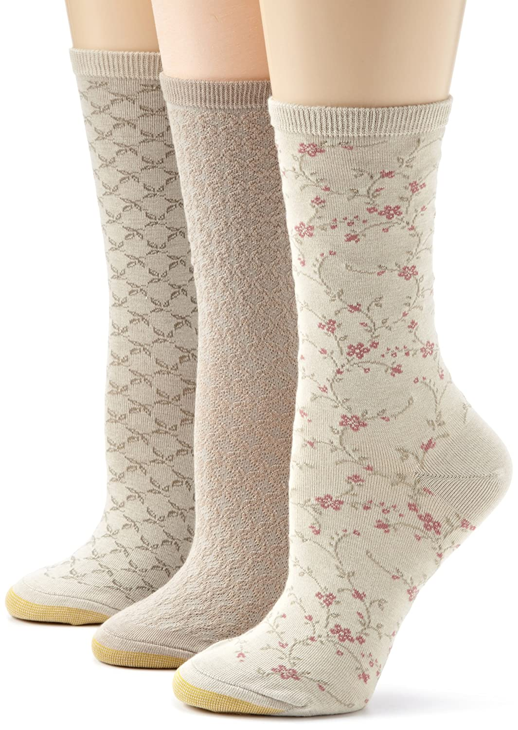 Gold Toe Woman's 3-Pack Floral Diamonds And Leaf Patterned Socks Gold Toe Moretz - Women's 5252