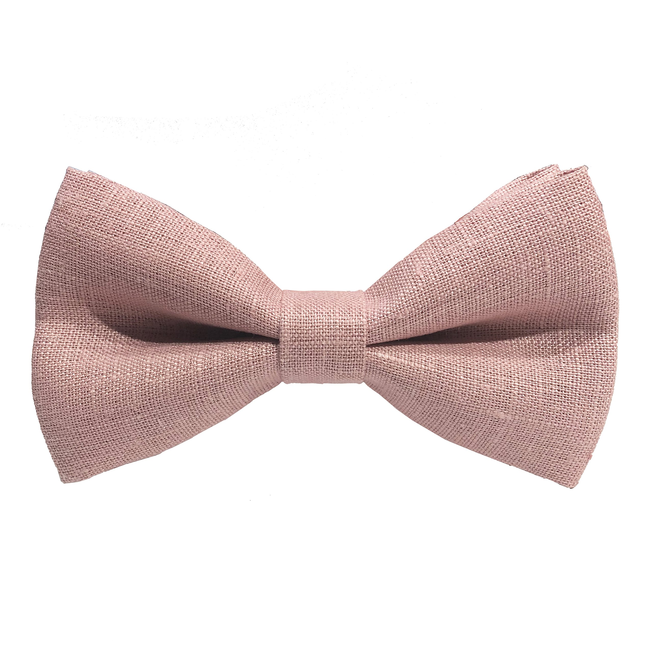 Linen Classic Pre-Tied Bow Tie Formal Solid Tuxedo, by Bow Tie House (Medium, Blush Pink)