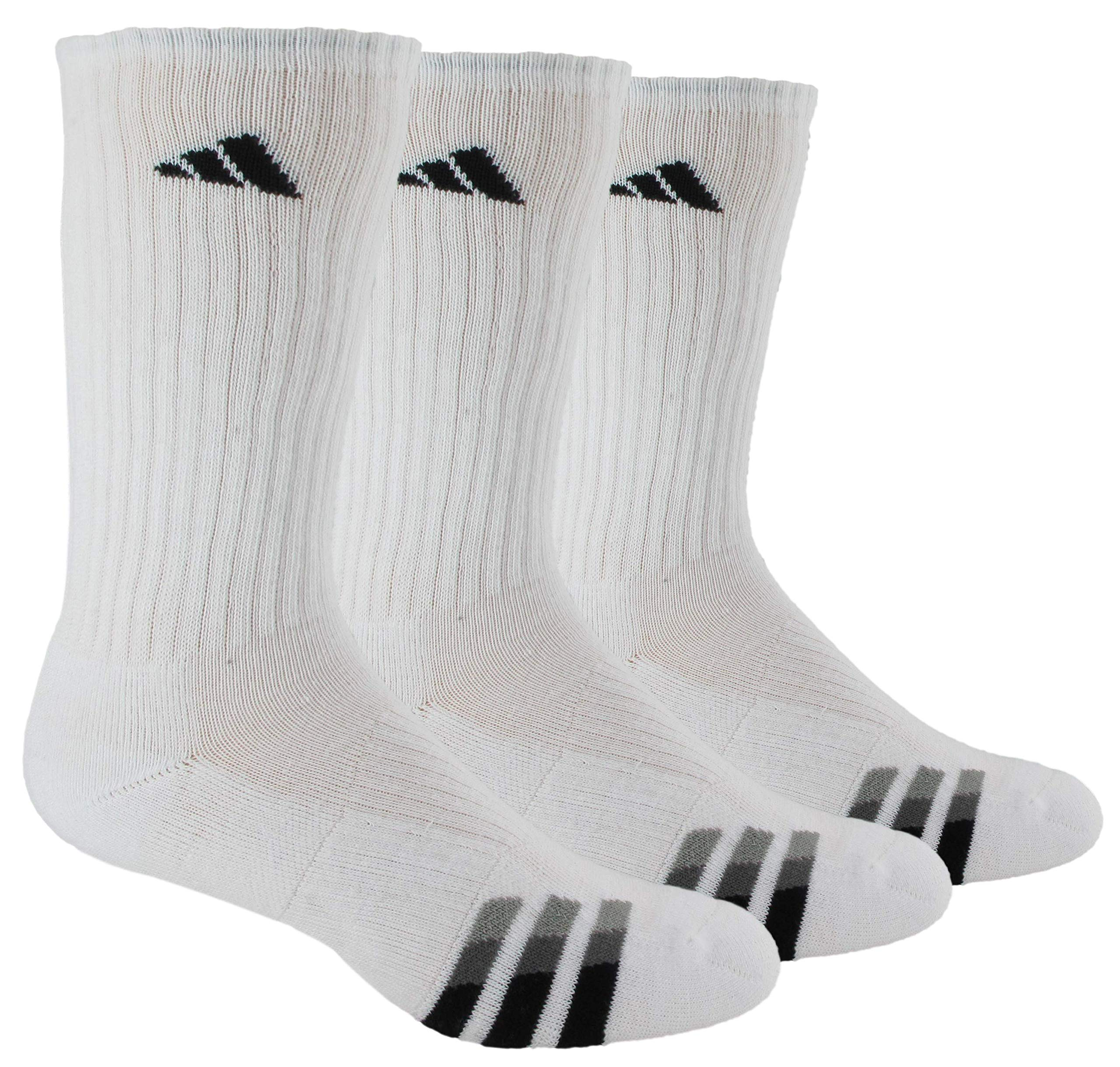 adidas Men's Cushioned Crew Socks (3-Pair), White/Black/Granite/Light Onix, Large, (Shoe Size 6-12) by adidas