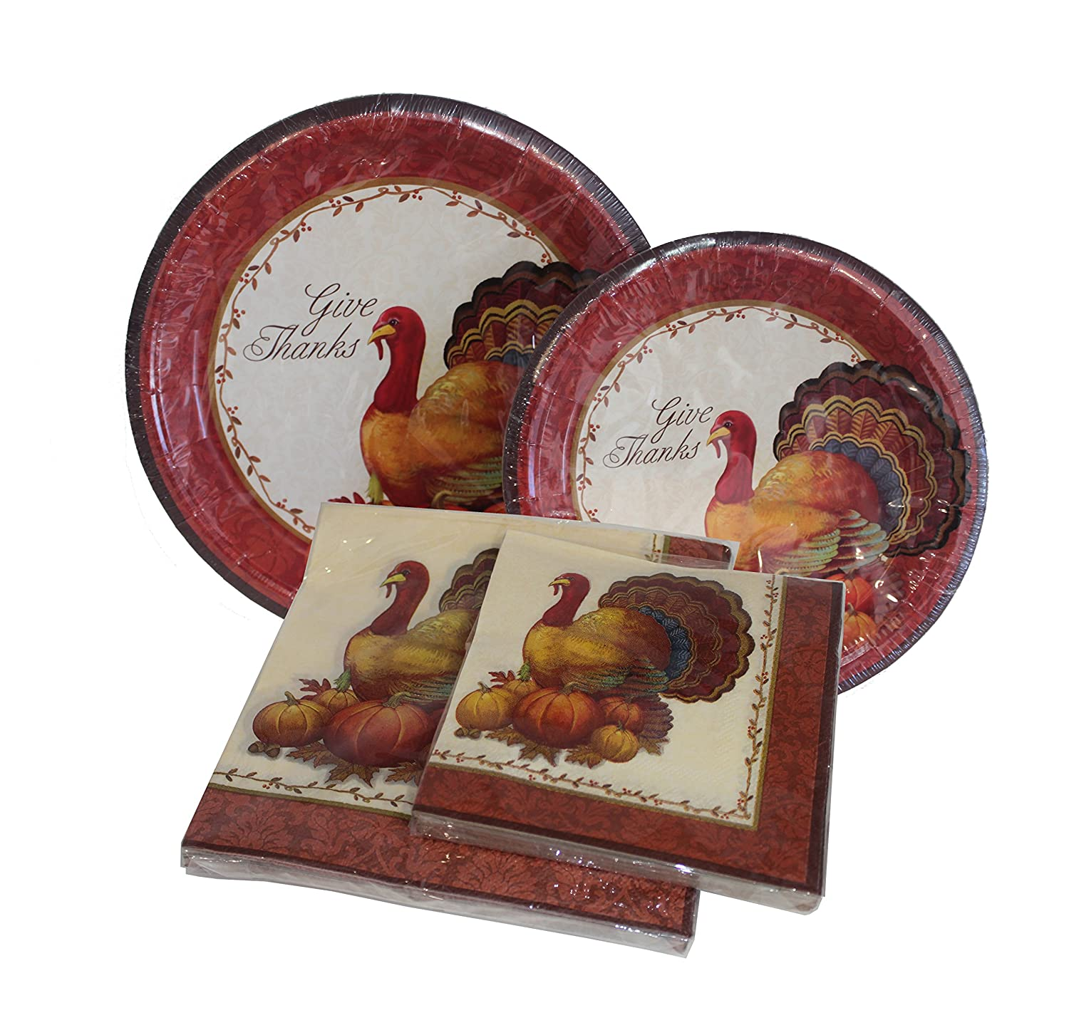 Amazon.com | Thanksgiving Plates and Napkins - 12ct Dinner Plates 12ct Dessert Plates 20 Count Dinner Napkins 20 Count Beverage Napkins Thanksgiving ...  sc 1 st  Amazon.com & Amazon.com | Thanksgiving Plates and Napkins - 12ct Dinner Plates ...