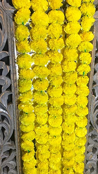Amazon 5 pack artificial yellow marigold flower garlands 5 pack artificial yellow marigold flower garlandsstrings 5 ft long for use in mightylinksfo