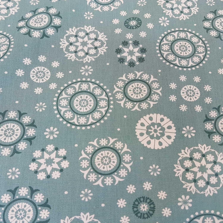 Werthers Stoffe Tela Tela de algodón Mandala Mint Turquesa Blanco Tela Decorativa Ropa plástico Cortina Plástico: Amazon.es: Juguetes y juegos