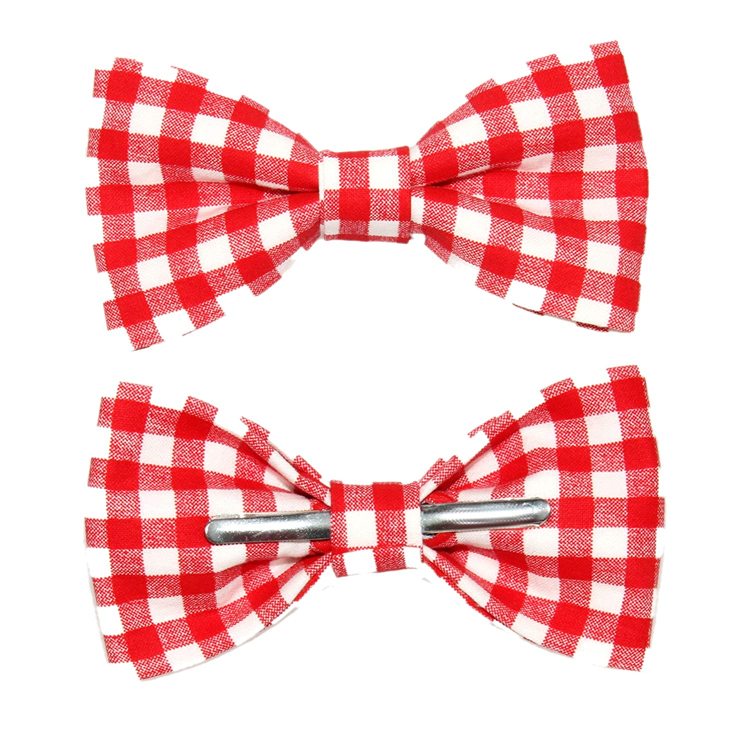 541cbcf4bfa6 Men's Red and White Picnic Gingham Clip On Cotton Bow Tie by amy2004marie  at Amazon Men's Clothing store: Wedding Ceremony Accessories