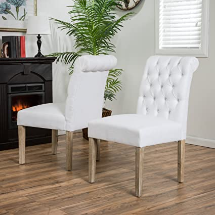 Elmerson Roll Back Off White Fabric Dining Chairs (Set Of 2)