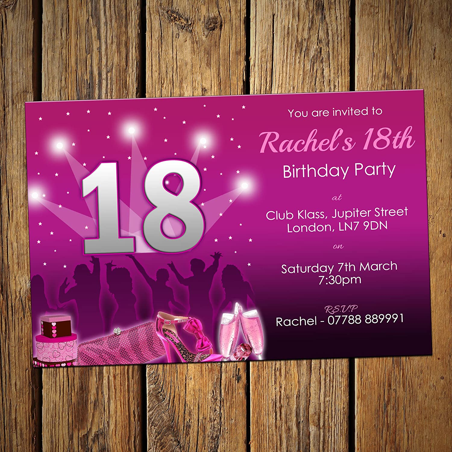 18th birthday party invites night out girls pack of 24 18th birthday party invites night out girls pack of 24 personalised see item description amazon kitchen home filmwisefo Gallery