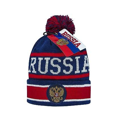 Russia cuffed knit beanie hat with pom dd4246c74af