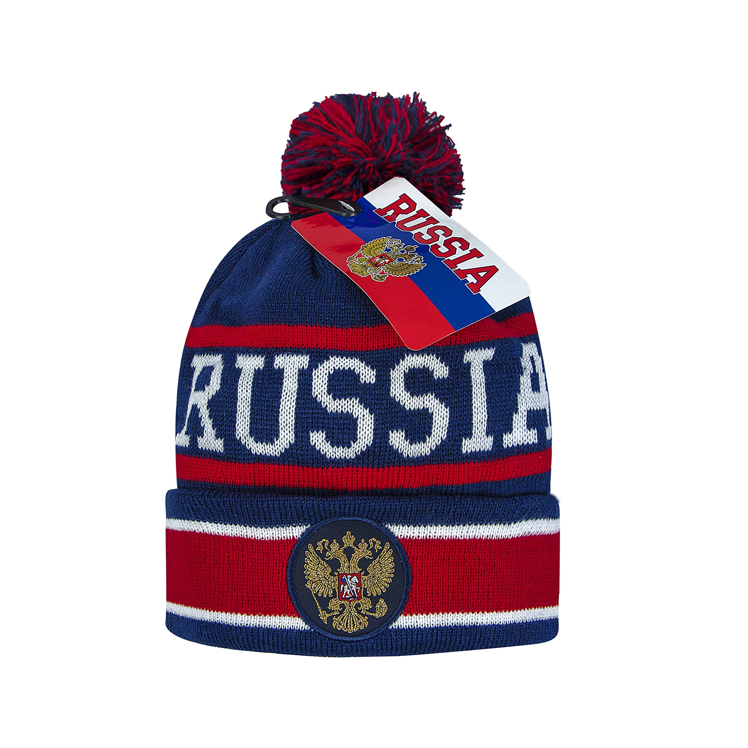 Russia cuffed knit beanie hat with pom, Russian coat of arms, embroidery patch, navy/red L/XL