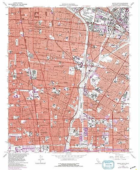 Amazon Com Yellowmaps South Gate Ca Topo Map 1 24000 Scale 7 5 X