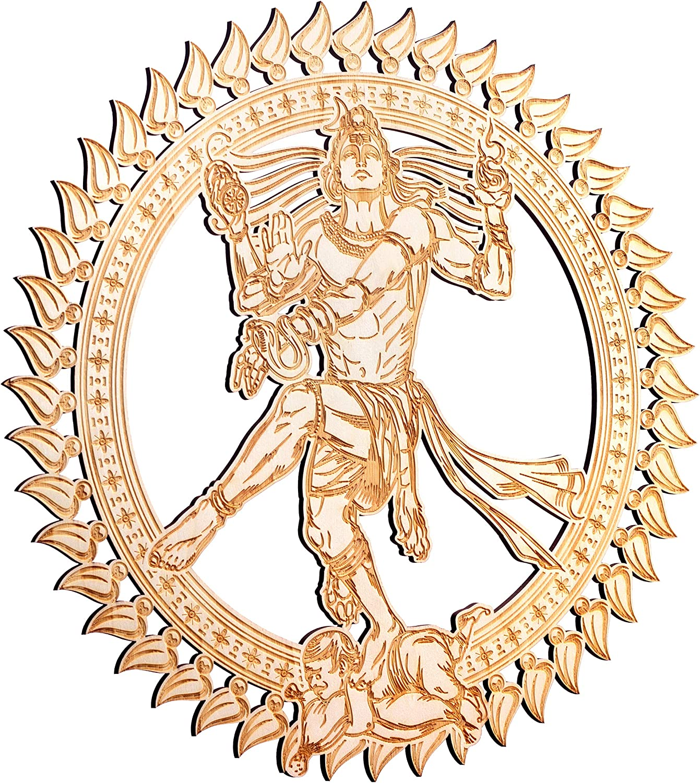 "ZenVizion 13.5"" Nataraja Adi Yogi Wall Art, Sacred Geometry Home Decor, Meditation Yoga Hanging Artwork, Laser Cut Wooden Wall Sculpture, Wealth, Prosperity, Abundance, Gift"
