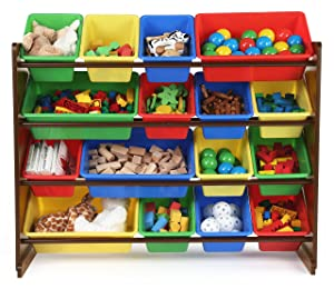Stores Tot Tutors, Inc. WO420 Discover Collection Supersized Wood Toy Storage Organizer, Toddler, Espresso/Primary
