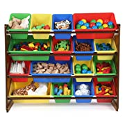 Tot Tutors WO420 Discover Collection Supersized Wood Toy Storage Organizer Toddler Espresso/Primary