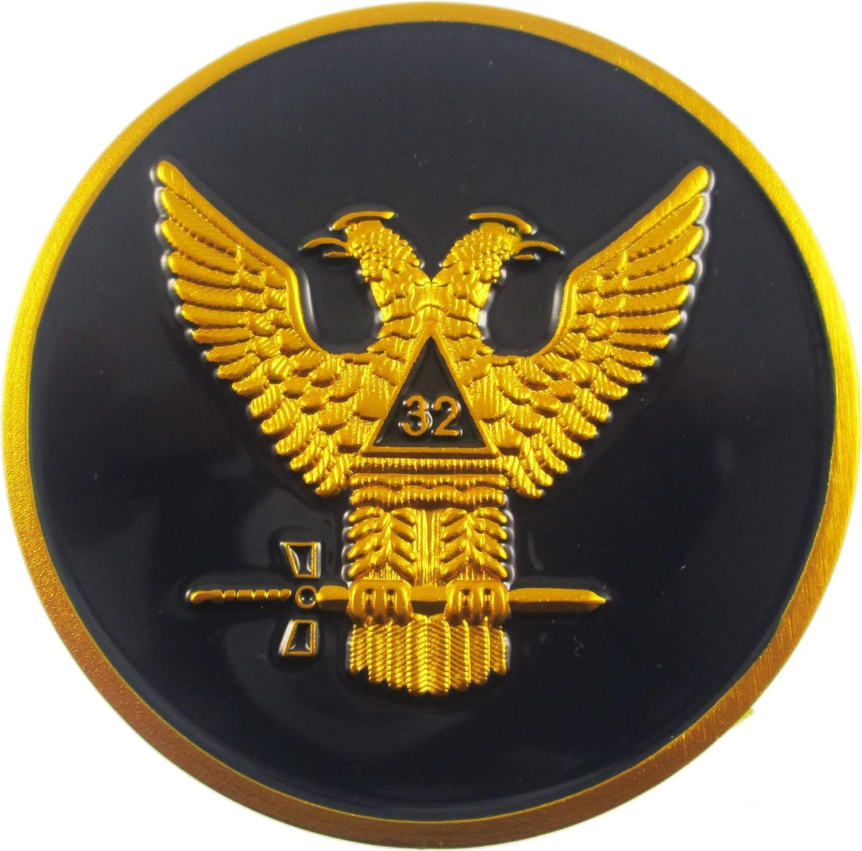Round Vinyl Decal 32ND DEGREE SCOTTISH RITE  Auto Emblem Made in USA
