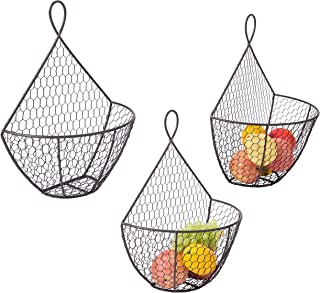 Wall Mounted Brown Metal Fruit Vegetable Baskets, Chicken Wire Hanging Produce Bins, Set of 3