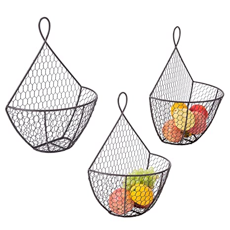 Wall Mounted Brown Metal Fruit Vegetable Baskets, Chicken Wire Hanging  Produce Bins, Set Of