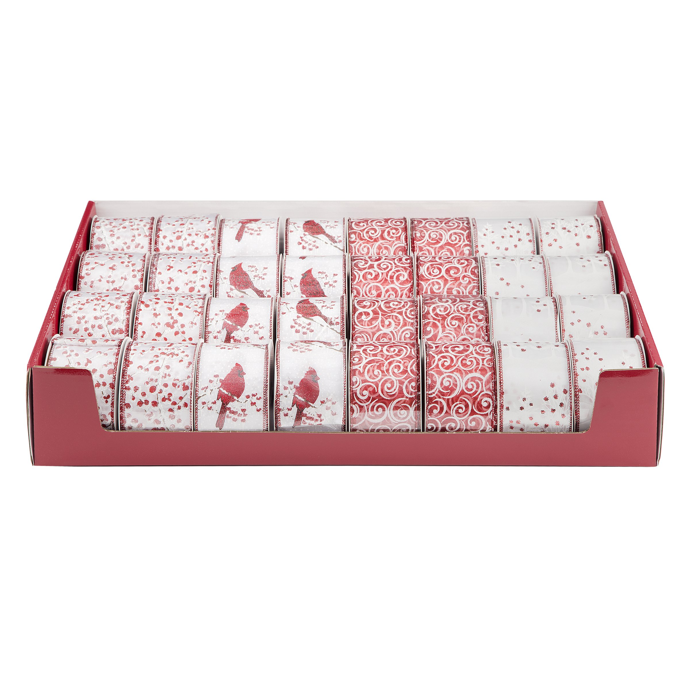 Darice Ribbon Assortments Red and White Christmas Ribbon 2.5in x 25 feet (8 Pack)