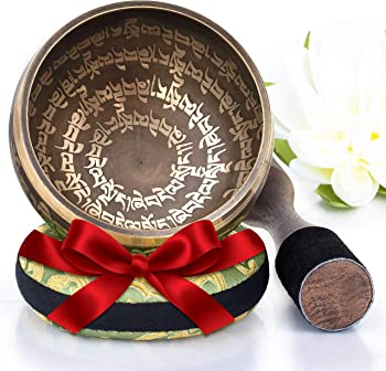 Silent Mind Tibetan Singing Bowl Set with Cushion & New Dual-End Striker
