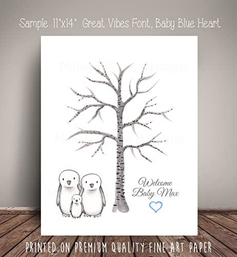 Amazon Penguin Family Baby Shower Guest Book Thumbprint Birch