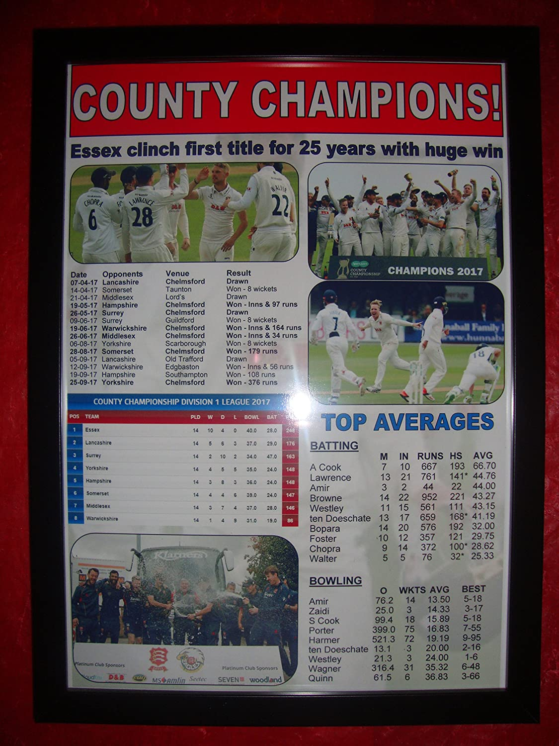 0181ed35179852 Amazon.com   Essex CCC 2017 County Champions - framed print   Sports    Outdoors